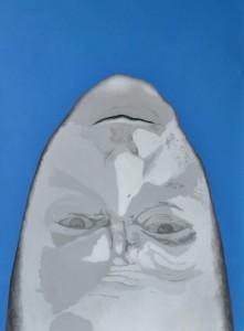 Verk 6 - Hallgrímur Helgason Portret af Michel Honellebecq Akríl á striga 80 x 60 Ártal 2012 .